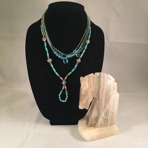 Jewelry - TWO NECKLACE SET -- Turquoise, Copper, Clear Beads